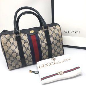 Vintage Authentic Gucci Boston Doctors Satchel Bag